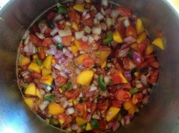 Tomato Peach Chutney added red pepper flakes and more red and green ...