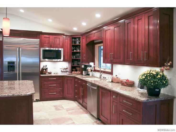32 best images about kitchen on pinterest black granite for Cherry red kitchen cabinets