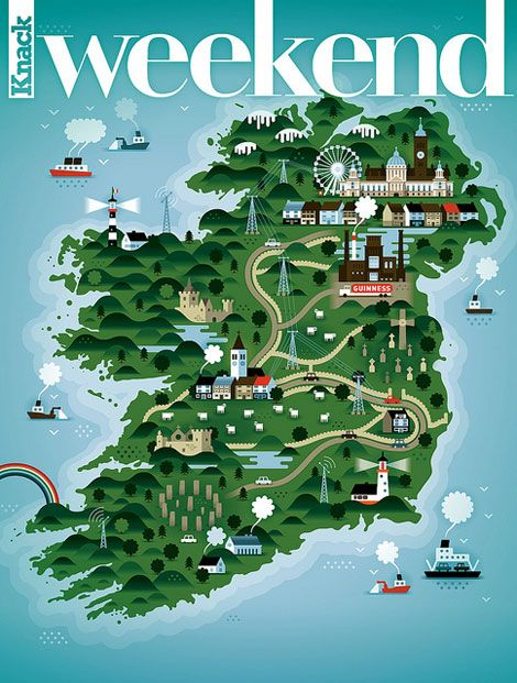 Ireland Map                                  KHUAN + KTRON for Weekend Knack Mag­a­zine                          Amazing illustration work by the uber-talented folks at KHUAN + KTRON. The Belgian based design firm was commissioned by Weekend Knack Magazine to create a series of weekly covers. You can see the first five here.