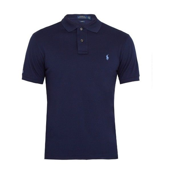 Polo Ralph Lauren Slim-fit cotton-piqué polo shirt ($85) ❤ liked on Polyvore featuring men's fashion, men's clothing, men's shirts, men's polos, blue, mens slim fit polo shirts, mens pique polo shirts, mens blue shirt, mens slim shirts and mens straight hem shirts