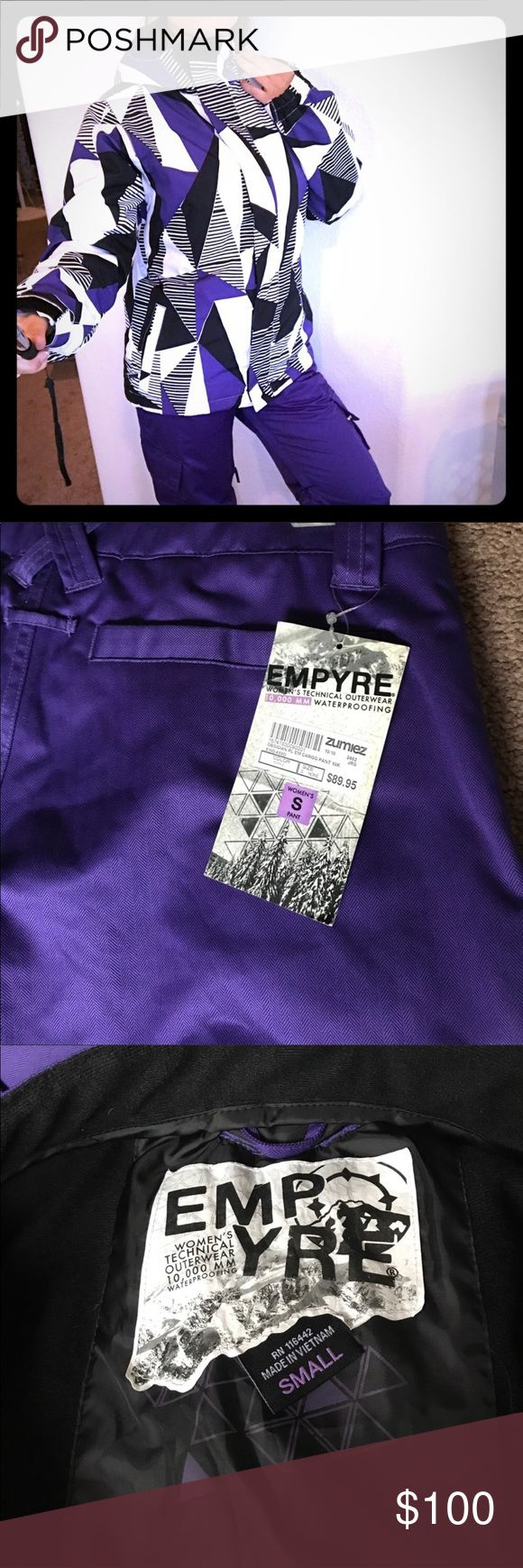 🌟SALE ZUMIEZ  EMPYRE Snow Board FULL FIT 🚺 🌟✨SALE Woman's EMPYRE Snow Board FULL FIT Brand New Snow Board Out fit both jacket and Pants , the condition is NEW there's still tags on the pants , pants are a Size Small and The Jacket is A size Medium so if your a size small the out fit should fit you fine and the jacket is not that big I'm a size small and it's fits perfect , I bought this out fit right before moving to Vegas unfortunately there's no snow out here so I never got to use it…