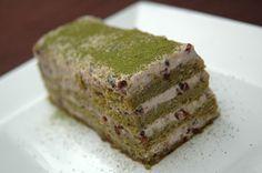 Génoise au thé vert matcha et crème aux haricots rouges (azuki)