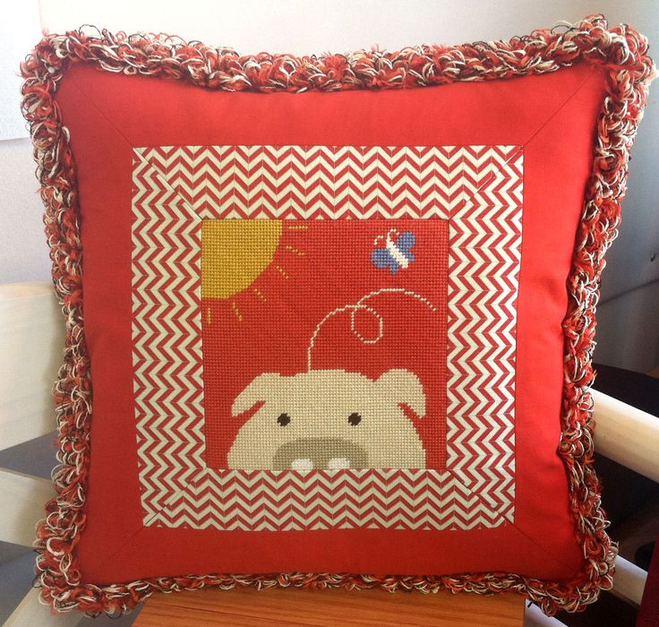 Wonderful finishing idea for needlepoint pillow from the Needlepointer Shop in Everett, Washington.
