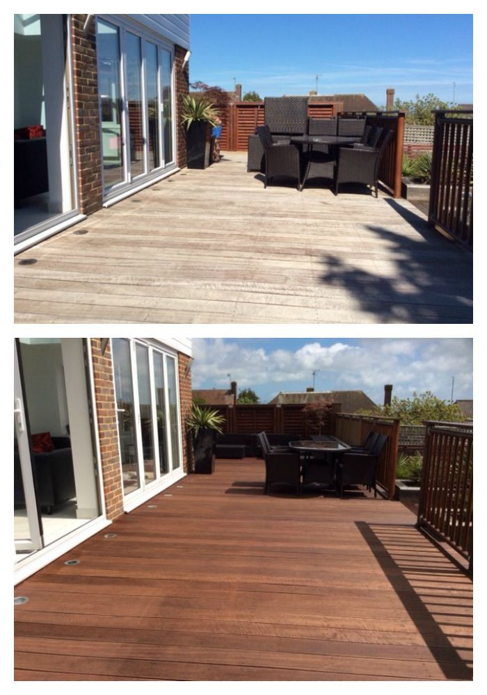 Thank you to Janette who sent these before and after photos of her decking. It was finished in Ronseal Decking Oil in Natural Cedar >>> http://www.wood-finishes-direct.com/product/ronseal-decking-oil?sid=1&s=260482-482c826da1c62e1e3dc7f67f0d748b5d