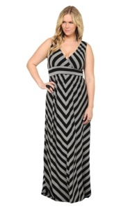 Grey And Black Mitered Striped Maxi ... I so want this cute dress  :)