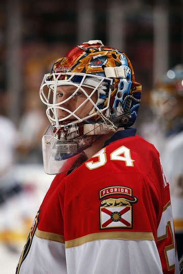 SUNRISE, FL - JANUARY 6: Goaltender James Reimer #34 of the Florida Panthers warms up on the ice prior to the start of the game against the Nashville Predators at the BB&T Center on January 6, 2017 in Sunrise, Florida. (Photo by Eliot J. Schechter/NHLI via Getty Images)