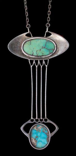"""THEODOR FAHRNER Jugendstil Pendant - Silver, Turquoise; 2.68""""H x 1.38""""W; German, c.1900"""