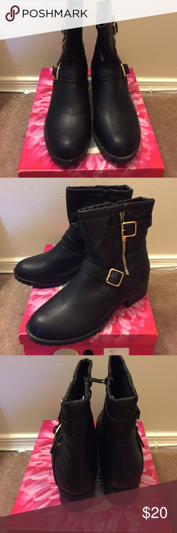 Bike boots Black biker boots with gold buckles and zipper in the side only worn once or twice Shoes Ankle Boots & Booties