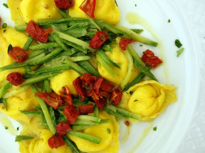 Lunch at L'Achimista, Montefalco: Cappellotti filled with burrata and topped with zucchini and slow roasted tomatoes.