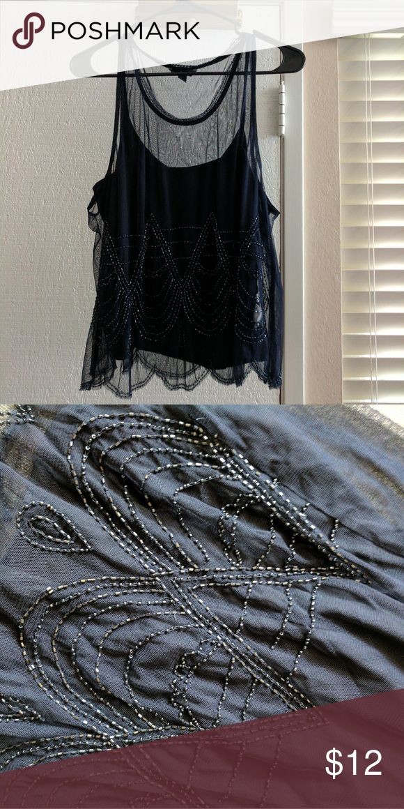 American Eagle Outfitters Blouse Blue Gatsby style shirt with beaded applique American Eagle Outfitters Tops Blouses
