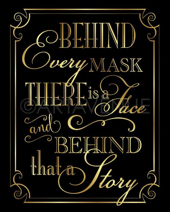Masquerade Party Sign Printable Signs | Behind Every Mask There Is A Face | Black and Gold Masquerade Party | Party Printables – VBG1