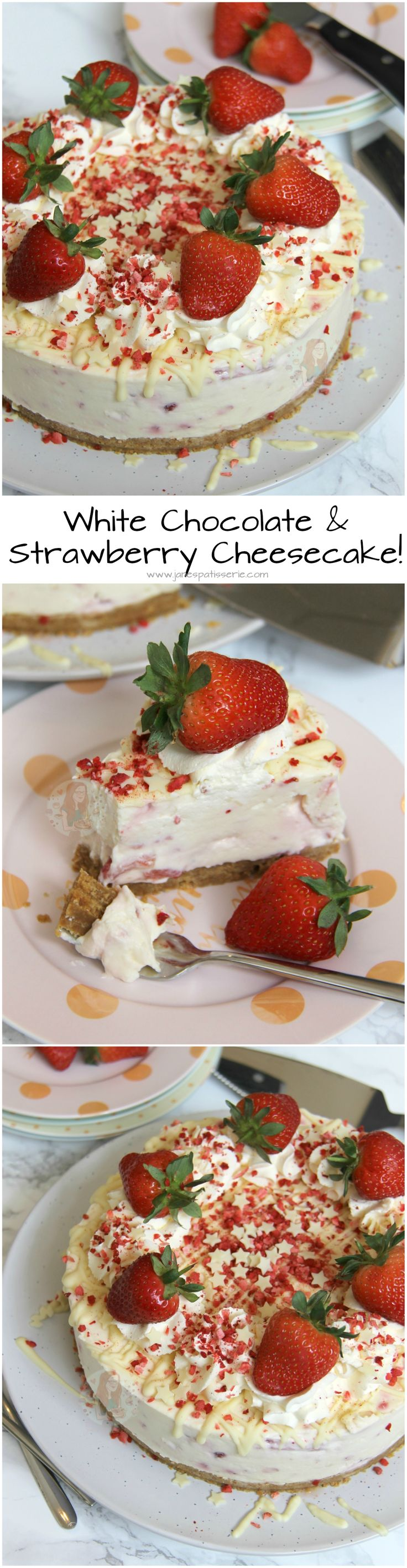 White Chocolate & Strawberry Cheesecake! ❤️ Buttery Biscuit Base, White Chocolate Cheesecake with Strawberry Filling, Whipped Cream, More Chocolate, and even more Strawberry!
