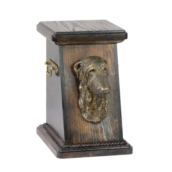 Wooden urn, made of birch with cold cast bronze statue ♥