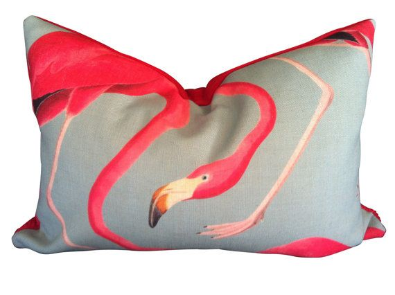 Sparkk Flamingo cushion with heavy upholstery back. $85.00, via Etsy.
