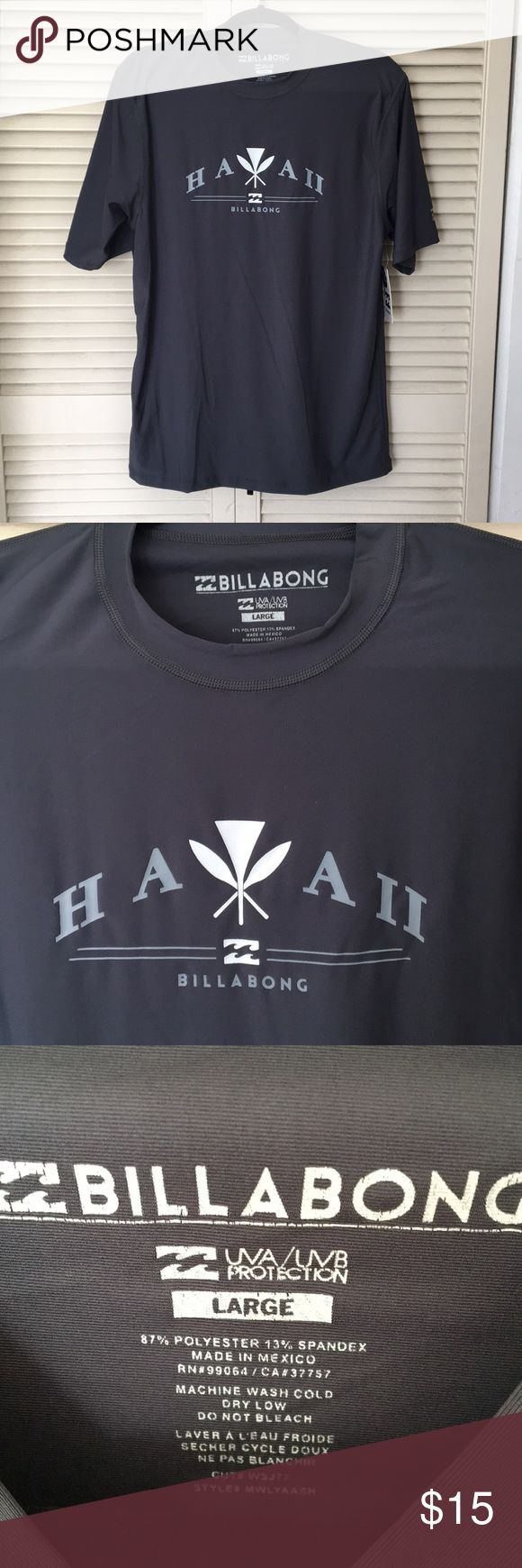 NWT Billabong short sleeve surf tee New with tags! Billabong surf tee made with special combination of nylon and spandex with a unique silk-touch feel. Provides loose comfort without cling. Offers protection from the sun.  Hawaii and iconic Billabong logo screened across chest.   Gray Large 87% polyester, 13% spandex UVA/UVB protection  Gray Billabong Shirts Tees - Short Sleeve