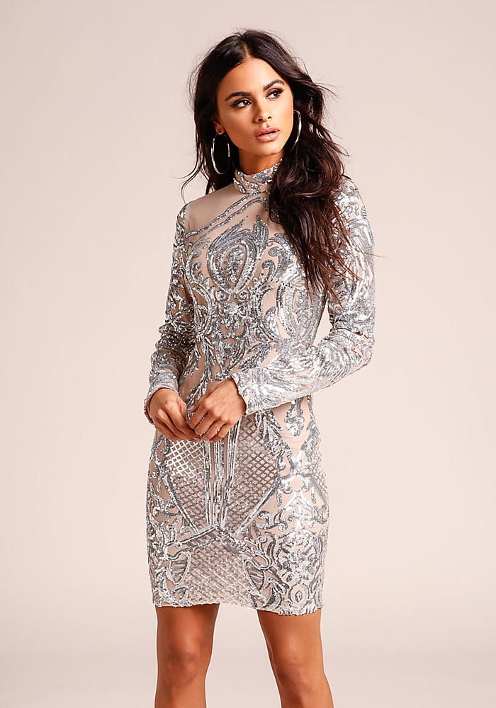 Silver Sequin Patterned Tulle Bodycon Dress - Going Out - Dresses