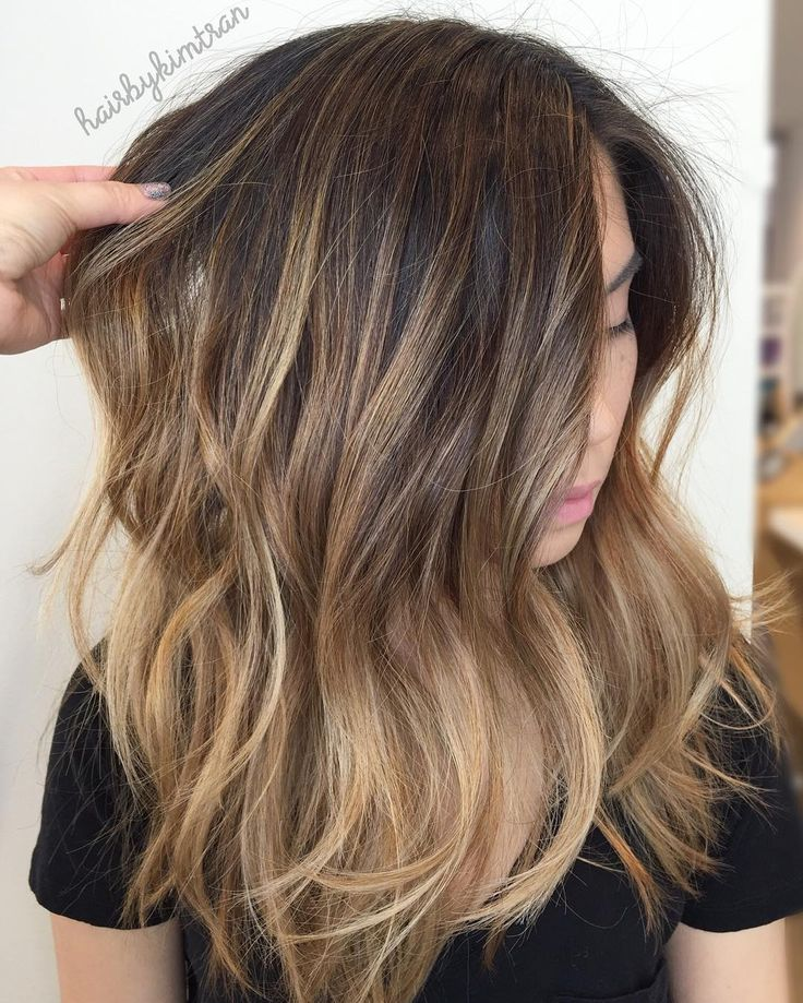 """287 Likes, 9 Comments - Kim Tran (@hairbykimtran) on Instagram: """"Broke her old brassy balayage  and dark base by weaving threw super fine foils, and painted pieces…"""""""