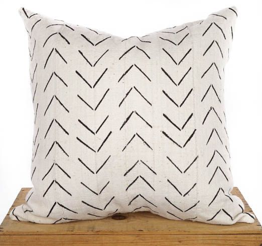 "Fango bianco africano tessuto cuscino copertura 20"" Mudcloth cuscino"