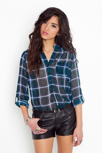 Plaid BlouseBlouses 2660, Leather Shorts, Style, Plaid Blouses, Daria Plaid, Nasty Gal, Nastygal, Black, Clothing Tops