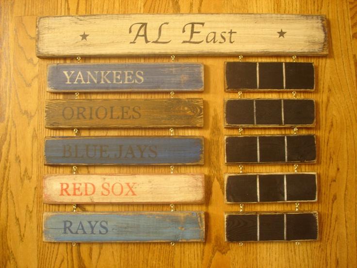 AL East standings board New York Yankees Boston Red Sox Toronto Blue Jays Tampa Rays Baltimore Orioles. $79.00, via Etsy.