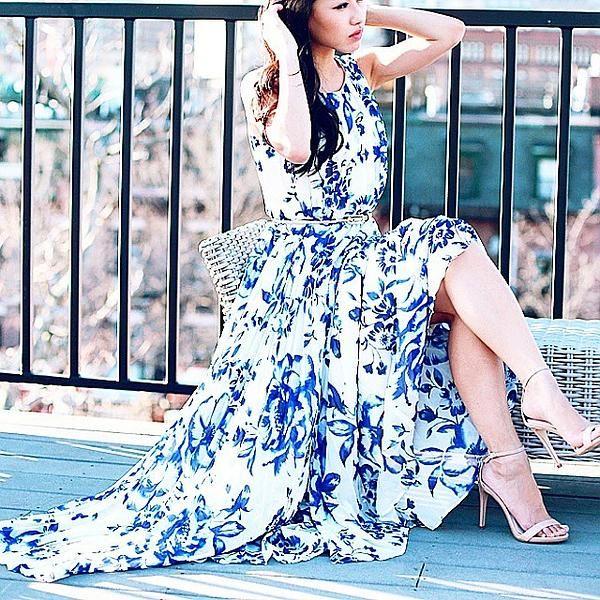 Eliza J Print Pleat Chiffon Maxi Dress (Regular & Petite) | Nordstrom #blueandwhite