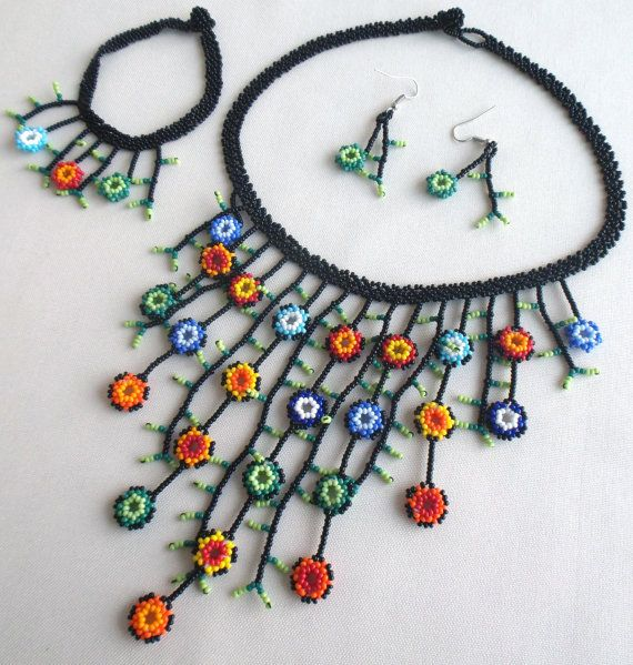 Mexican Huichol Beaded Flower Necklace, Bracelet and earrings set