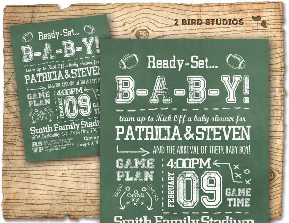 Football baby shower invitation in chalkboard style - football gender neutral coed or couples shower invite - printable invitation on Etsy, $20.00