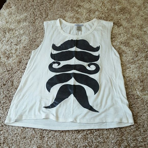 Glittery mustache shirt Very cute cut off tank top with glittery mustaches from charlotte russe Charlotte Russe Tops Tank Tops