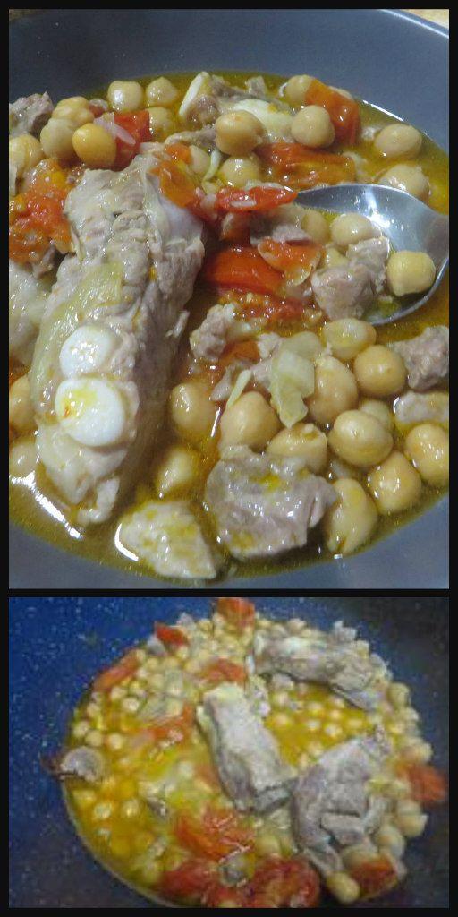 Zuppa con ceci e costine di maiale , gustosissima !!  #zuppaceci #zuppa #ceci #costinedimaiale #ricettegustose