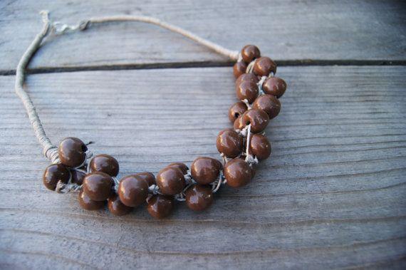 Chocolate ceramic necklace, chocolate necklace, brown necklace, brown linen necklace, chocolate beads, necklace for evening dress, by GlinianaKoniczynka on Etsy