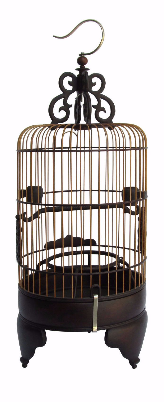 High Quality Handmade Chinese Tan Rosewood Long Round Shape Collectible Birdcage n257S