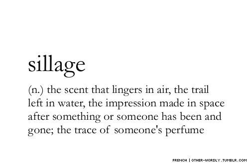 sillage: (n.) the scent that lingers in air, the trail left in water, the impression made in space after something or someone has been and gone; the trace of someone's perfume   OTHER-WORDLY.TUMBLR.COM: