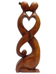 """Escultura Abstrata em Madeira Suar """"Love"""" 40cm - Arte Bali"""