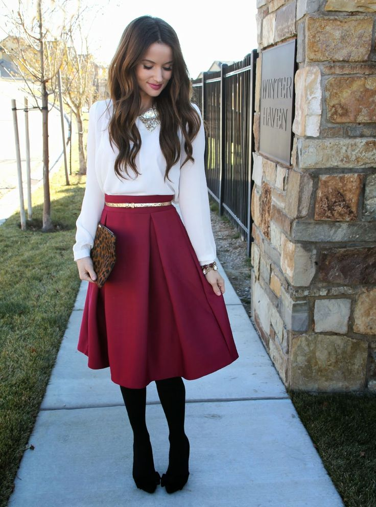 Kiss Me Darling: All dolled up… Holiday outfit, red skirt ...