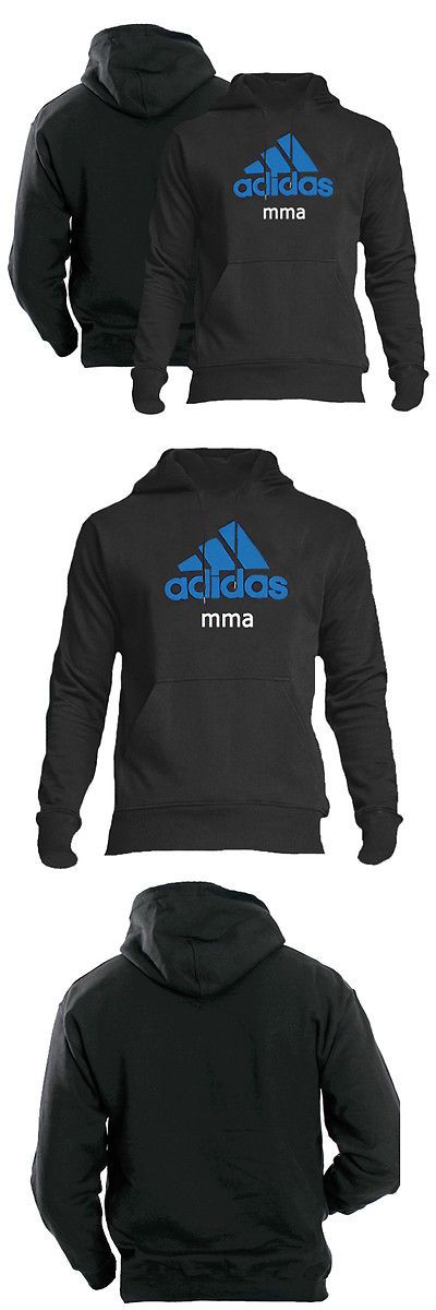 Hoodies and Sweatshirts 179770: Adidas Community Line Mma Pullover Hoodie - Black/Solar Blue BUY IT NOW ONLY: $59.95