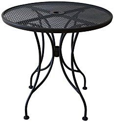Oak Street Manufacturing OD30R Round Black Mesh Top Outdoor Table, 30″ Diameter
