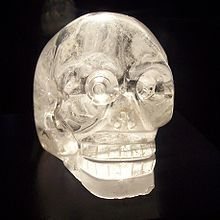 "The crystal skulls are a number of human skull hardstone carvings made of clear or milky quartz, known in art history as ""rock crystal"", claimed to be pre-Columbian Mesoamerican artifacts by their alleged finders; however, none of the specimens made available for scientific study have been authenticated as pre-Columbian in origin. The results of these studies demonstrated that those examined were manufactured in the mid-19th century or later, almost certainly in Europe."