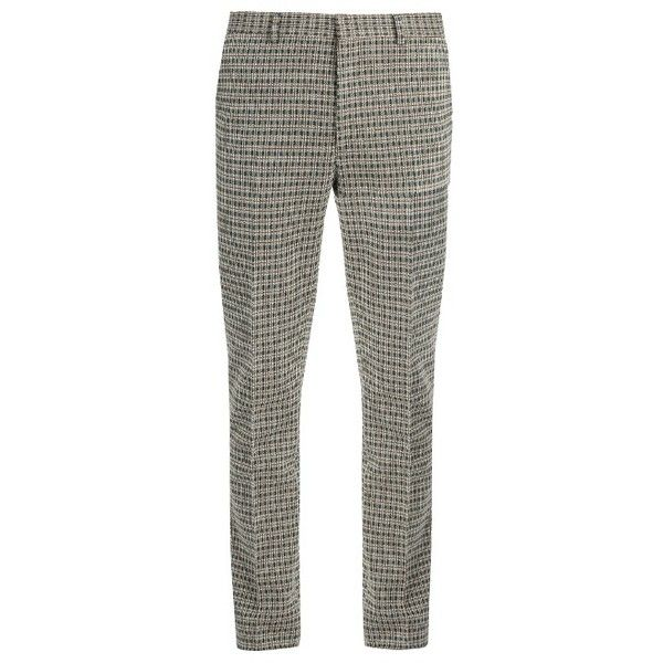 Fendi Slim-fit tartan-checked cotton-blend trousers ($530) ❤ liked on Polyvore featuring men's fashion, men's clothing, men's pants, men's casual pants, brown multi, mens slim fit pants, mens adjustable waist pants, brown mens pants, mens tartan pants and mens plaid pants