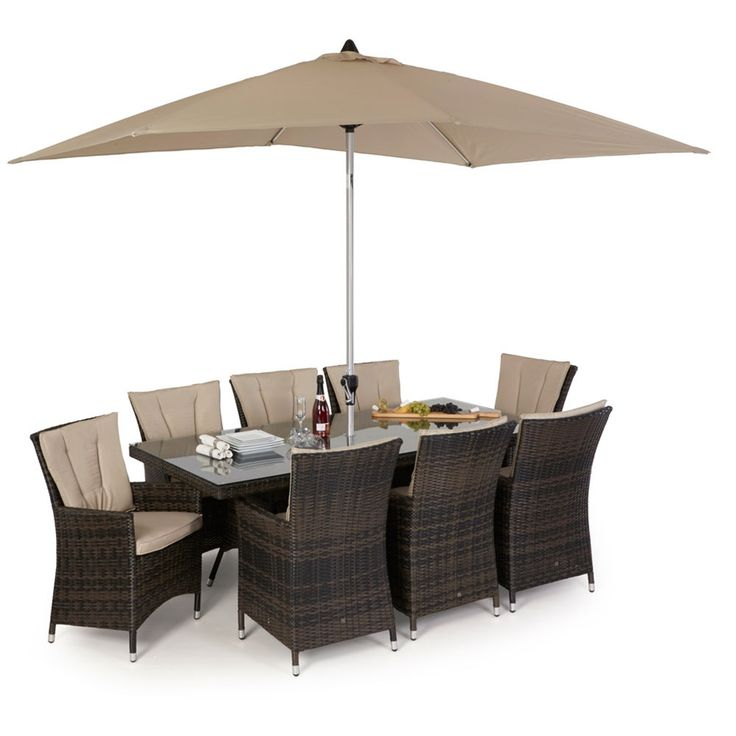 Maze Rattan LA 8 Seat Rectangular Garden Furniture Set is an excellent addition to any large garden area. Seating 8 persons comfortably on highback LA chairs with cushions, your guests will certainly be pleased. Available in Mixed Brown and Mixed Grey and made from synthetic all weather rattan making it suitable to be left outside all year round.
