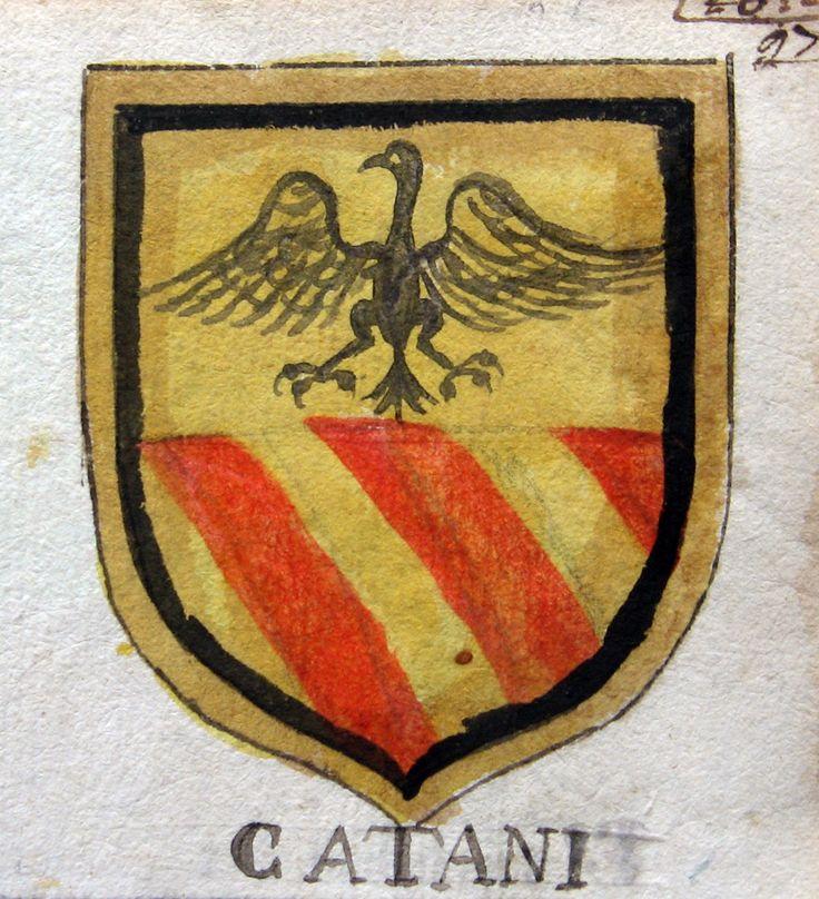 ARALDICA  - CATANI (al retro) CALEFATI. 1600 ca. Acquarello policromo originale, mm.80x70 ca + margine bianco. Grazioso stemma nobiliare.