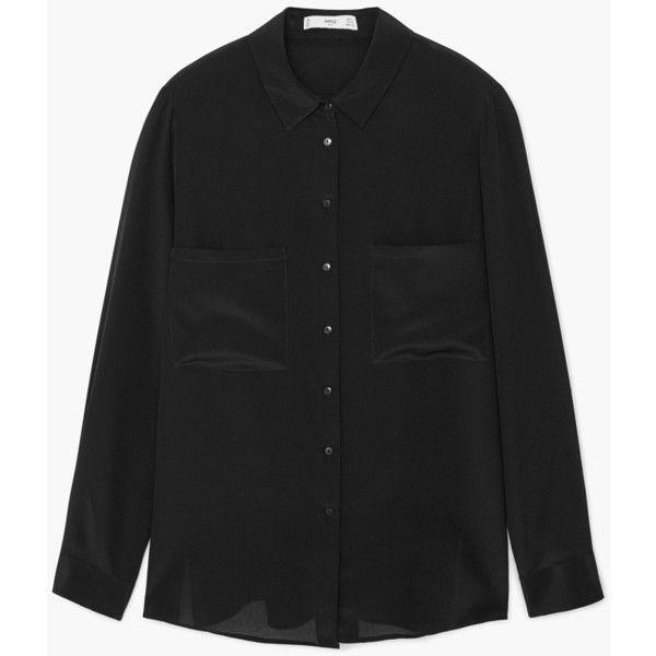 Chest-Pockets Silk Shirt (€68) via Polyvore featuring tops, collar top, side slit shirt, extra long sleeve shirts, shirts & tops and mango shirt