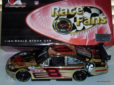 """Dale jr #8 """"Budwesier/Elvis 30th - 2007 Impala SS COT 1/24 scale---From QVC/RF Collectables Gold Chrome. New never removed from the box until now for pics."""