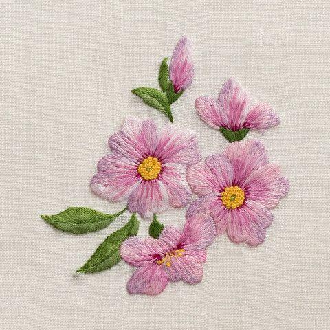 Cherry BlossomHand Towel - Ivory Linen – Henry Handwork