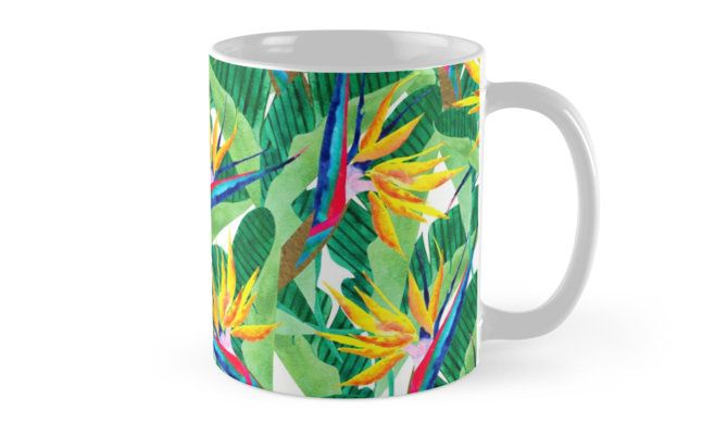 Watercolor collage Bird of Paradise pattern. Summer pattern. • Also buy this artwork on home decor, apparel, stickers, and more.  Bird of Paradise watercolor pattern. Inspired by nature. @redbubble #art #redbubble #redbubbleartist #birdofparadise #pattern #design #tropical #yellow #flowers #botanical #summer #watercolor #artwork #fashion #trends #mug #muglove #coffeemug