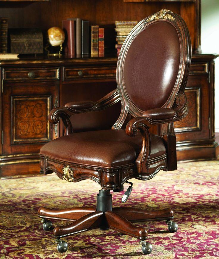 Hooker furniture beladora leather tilt swivel chair for Beladora bedroom set
