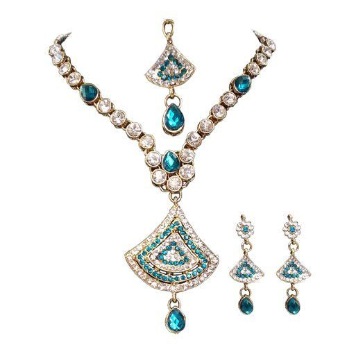 Unicorn's Trendy Necklace Set In Blue Along With Matching Earring And Maang Tikka Made of Alloy for Women by Unicorn, http://www.amazon.in/dp/B00H71SRXM/ref=cm_sw_r_pi_dp_nFE3sb0N9J92S