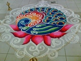 Rangoli - peacock. Maybe Sharmila could design for the entry table.