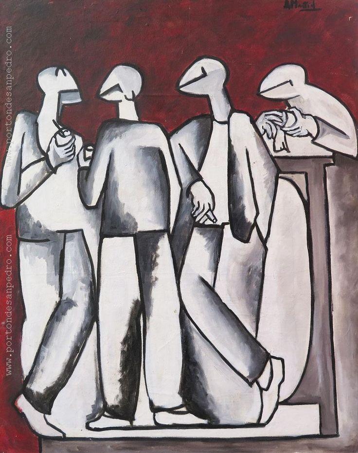 """Antolín Montiel """"Personajes"""" Acrílico sobre tela 74 x 60 cm. Firmado arriba a la derecha http://www.portondesanpedro.com/ver-producto.php?id=13015"""