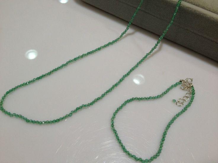 Ювелирных изделий из колье и браслет 2 - 3 мм зеленый агат изумрудное ожерелье крошечный бусины мода женская ювелирные изделия простой ожерелье