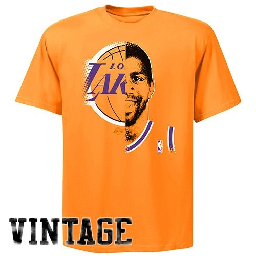 cabe625b5 Los Angeles Lakers Magic Johnson NBA Hardwood Classics Game Face Throwback T -Shirt (Gold)